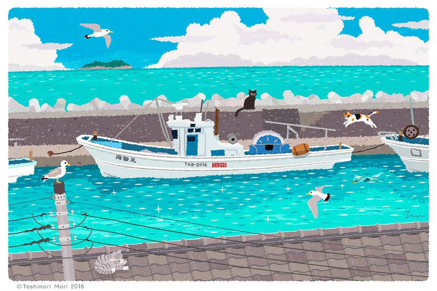 Tabineko: July. Illustration by Toshinori Mori
