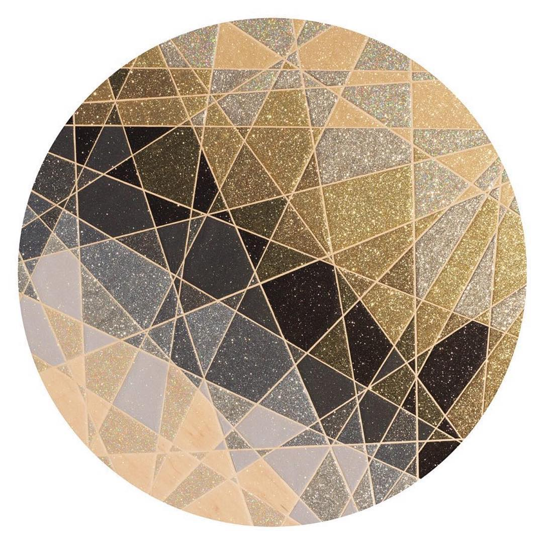 "INTERSTITIAL 2. . . . Art by @jordannwine Glitter and adhesive on wood panel. 48"" diameter"