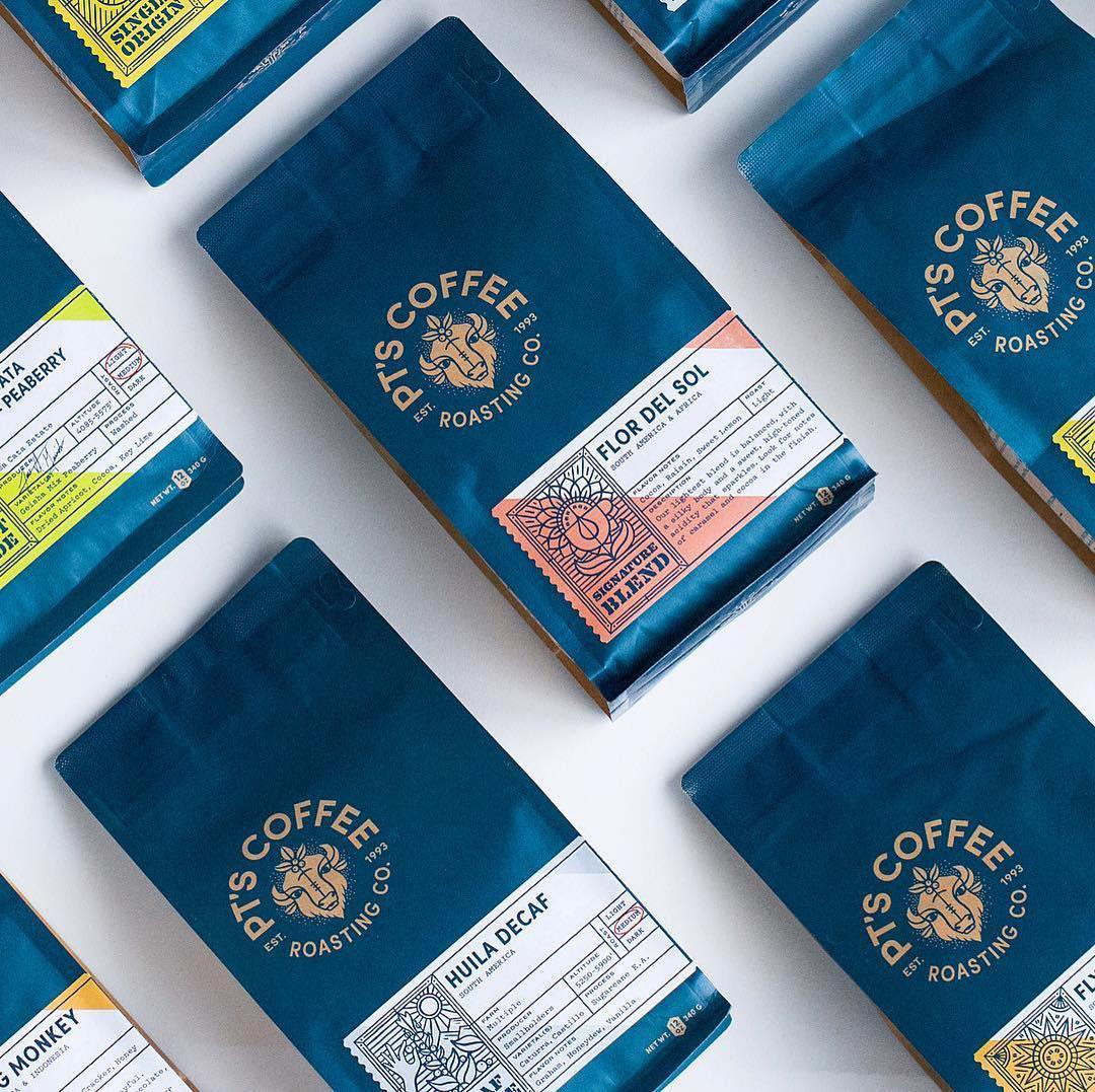 PT's Coffee Roasting Co. new brand identity, new packaging system and new retail space by @carpentercollective . . . . Via @tadcarpenter